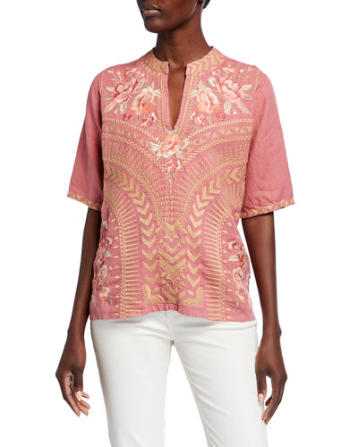 Rianne Embroidered V-Neck Short-Sleeve Easy Top