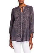 Johnny Was Monroe Tonal Embroidered Button-Front Blouse