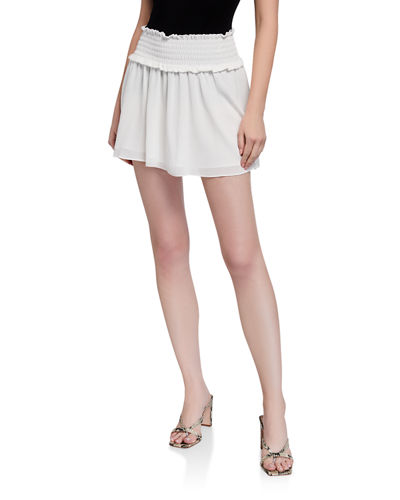 Esme Smocked Chiffon Mini Skirt