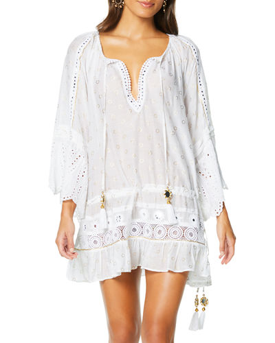 Ramy Brook Nico Embroidered Coverup Tunic Dress