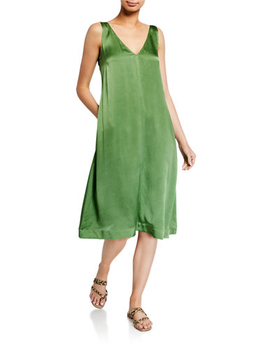 Verandah V-Neck Half Bias Silk Charmeuse Slip Dress