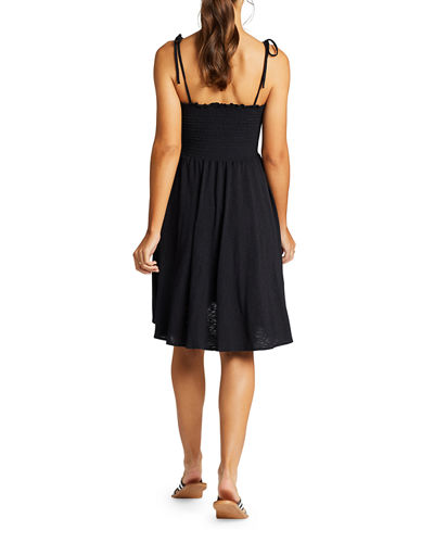 Vitamin A Gigi Smocked-Bodice Tie-Shoulder Dress