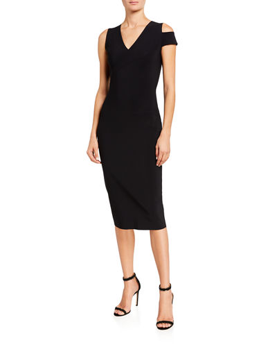 Asymmetric Shoulder V-Neck Sheath Dress