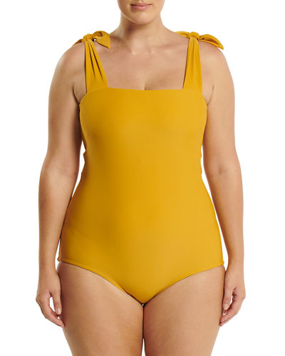 Plus Size Come As You Are Shoulder-Tie One-Piece Swimsuit