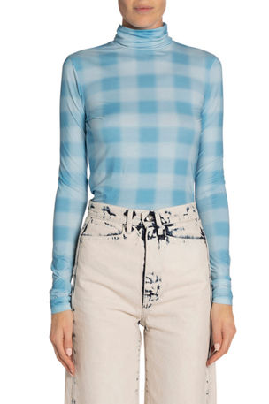 Proenza Schouler White Label Checkered Long-Sleeve Jersey Turtleneck Top