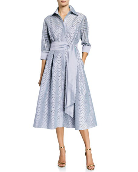 Rickie Freeman for Teri Jon Zigzag Eyelet Belted Shirtdress