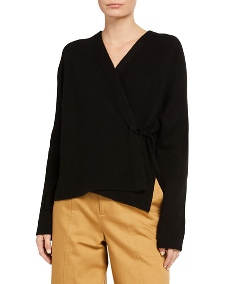Image 1 of 3: Vince Wrap-Front Wool-Blend Cardigan