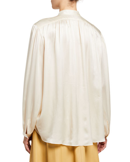 Image 2 of 2: Vince Shirred Band-Collar Silk Satin Blouse