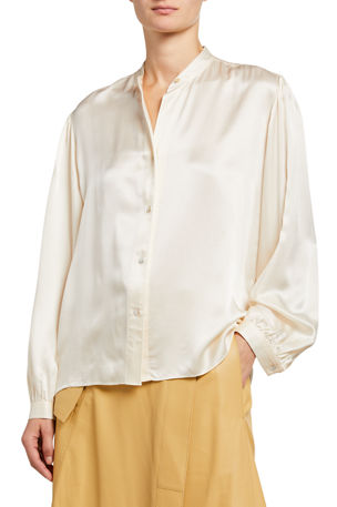 Vince Shirred Band-Collar Silk Satin Blouse