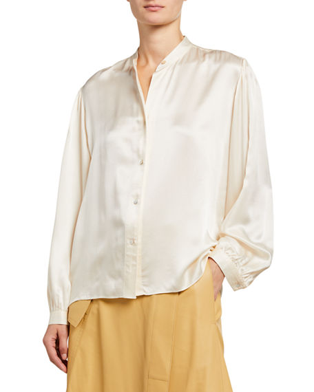 Image 1 of 2: Vince Shirred Band-Collar Silk Satin Blouse