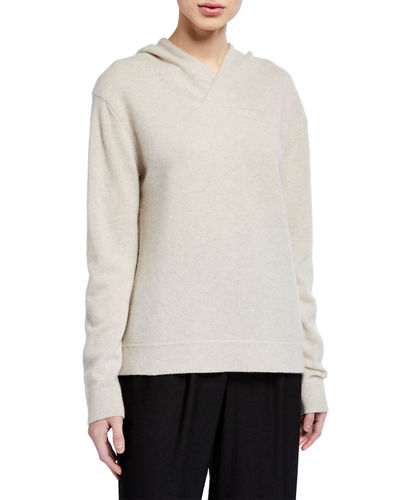 Cross-Front Wool-Cashmere Hoodie