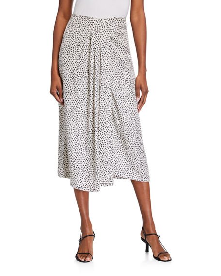 Vince Star Dot Asymmetric Drape Skirt