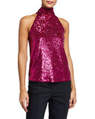 Generation Love Kassie Sequined High-Neck Top