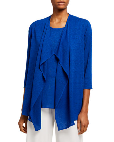 Plus Size Gauze Knit Draped Open-Front Cardigan