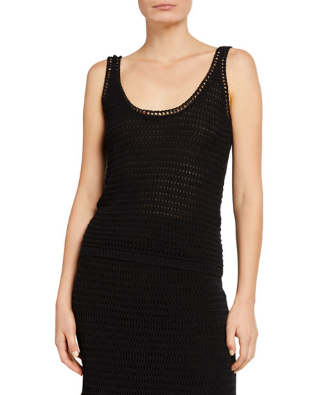 Image 1 of 5: Vince Crochet Scoop-Neck Tank Top