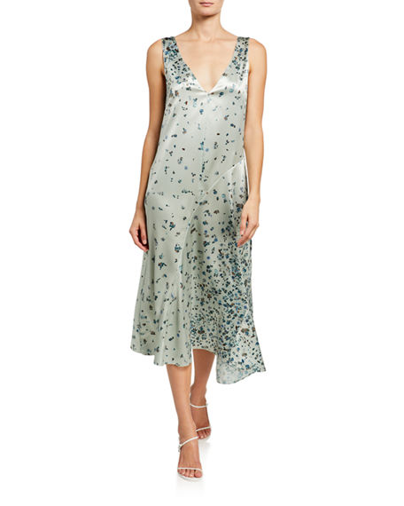 Vince Scattered Floral V-Neck Midi Dress