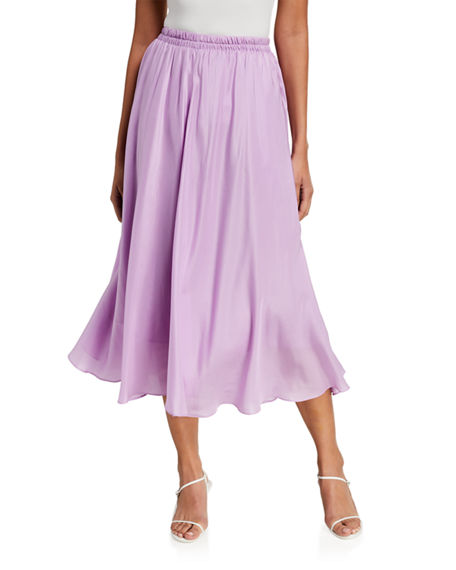 Vince Gathered Silk Pull-On Midi Skirt