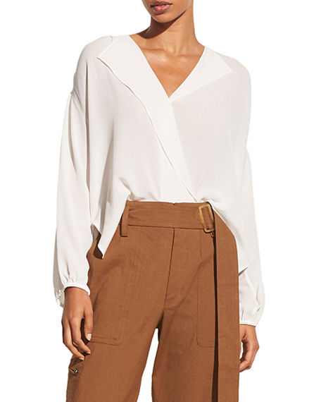 Vince Shirred Long-Sleeve Silk Crepe Popover Blouse