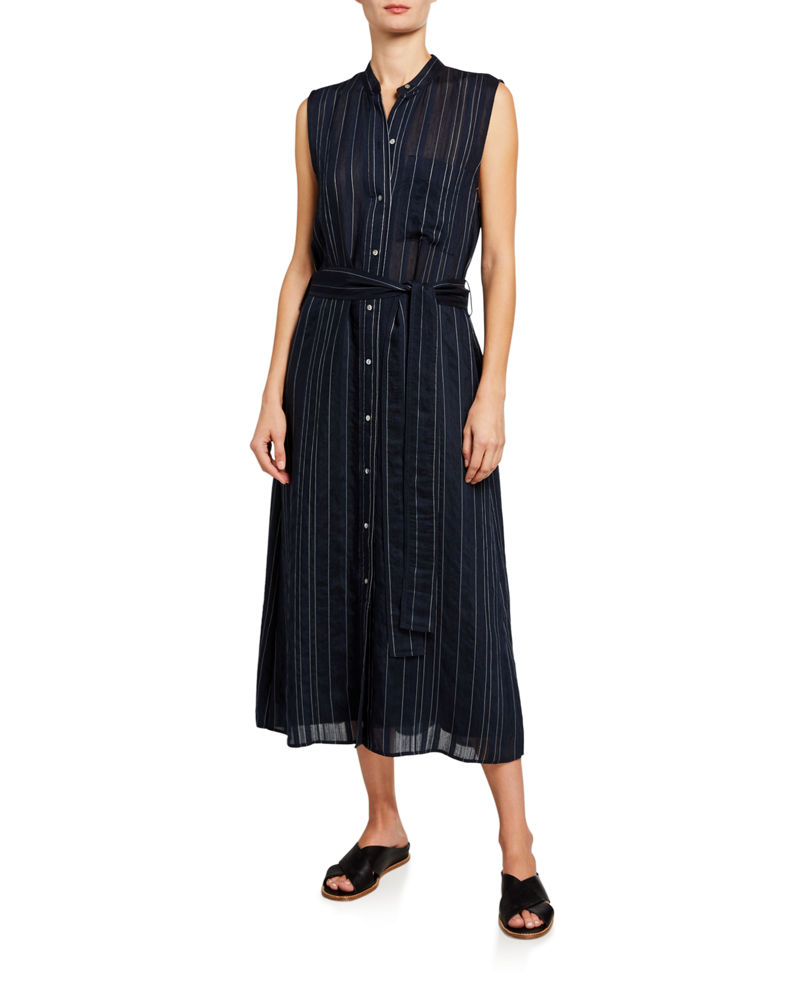 Vince Striped Sleeveless Drapey Shirtdress