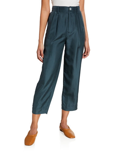 Cropped Silk Habutai Trousers