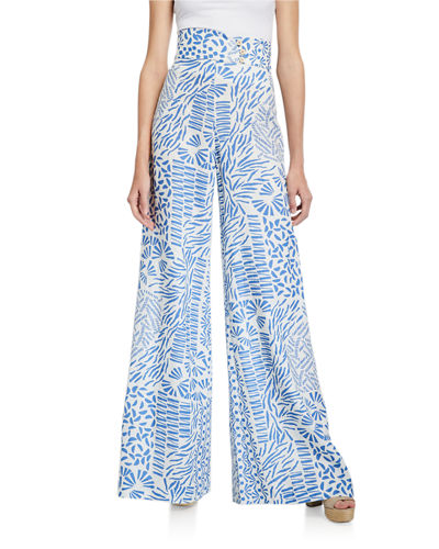 Alexis Neassa Printed High-Rise Button Pants