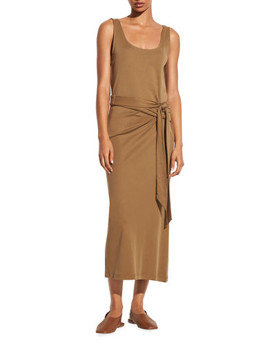 Vince Sleeveless Wrap-Front Midi Dress