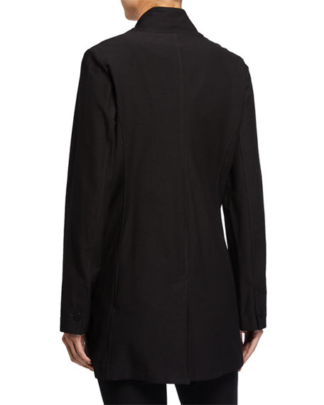 Image 2 of 2: Eileen Fisher Stand-Collar Long Washable Stretch Crepe Jacket