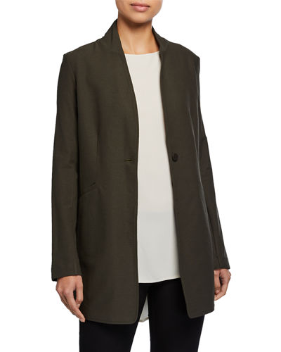 Stand-Collar Long Washable Stretch Crepe Jacket
