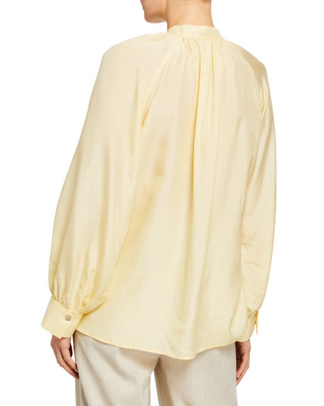 Image 2 of 2: Vince Long-Sleeve Silk Poet Blouse with Ties
