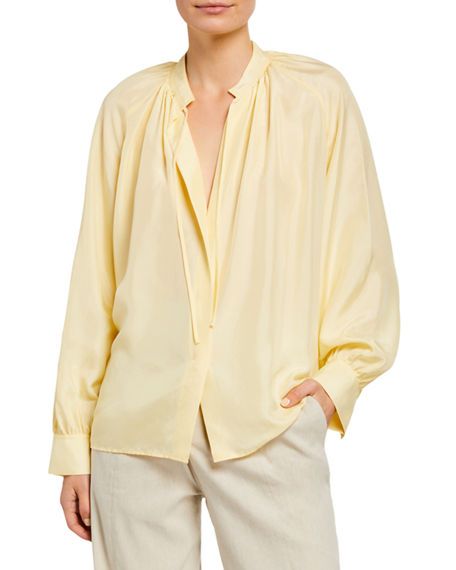 Image 1 of 2: Vince Long-Sleeve Silk Poet Blouse with Ties