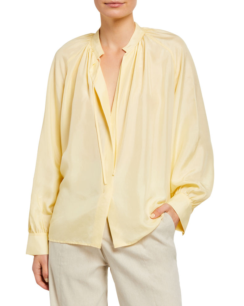 Vince Long-Sleeve Silk Poet Blouse with Ties
