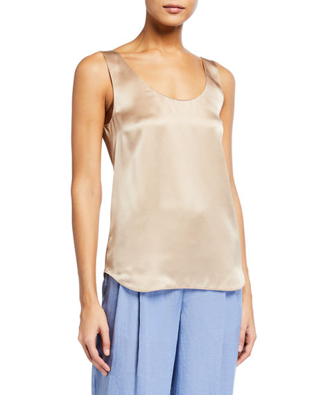 Vince Scoop-Neck Satin Tank