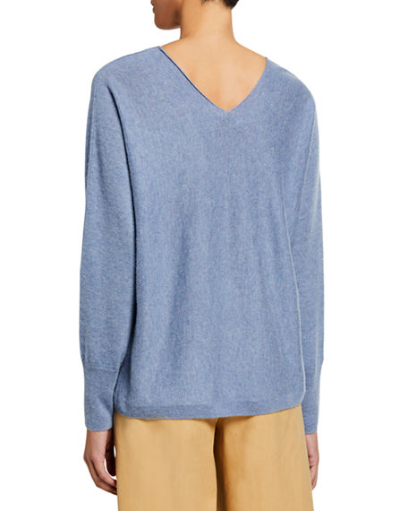 Image 2 of 2: Vince Double V-Neck Cashmere-Linen Sweater