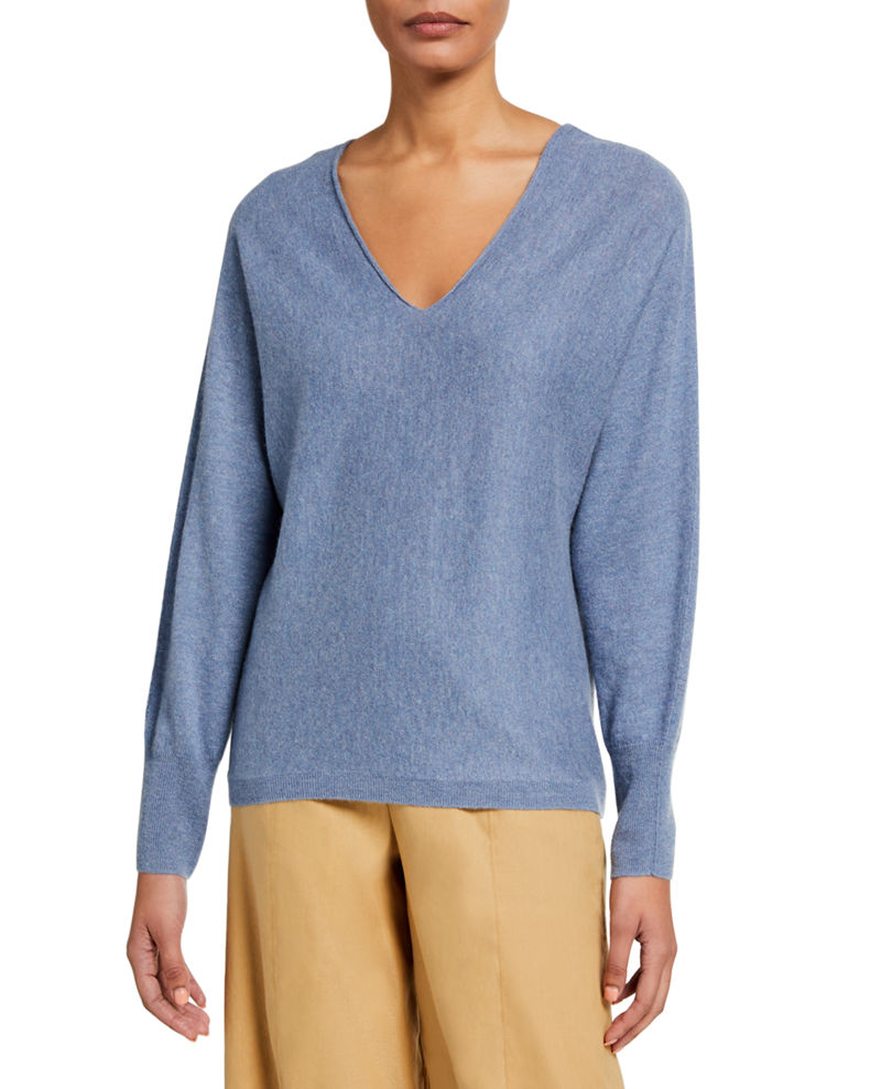 Vince Double V-Neck Cashmere-Linen Sweater