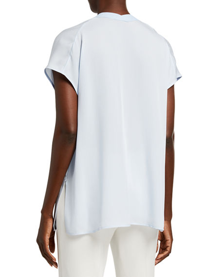 Image 2 of 2: Vince V-Neck Short-Sleeve Rib Trim Silk Blouse