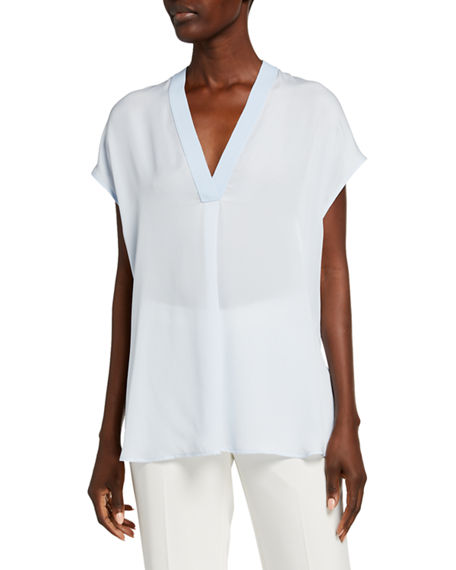 Image 1 of 2: Vince V-Neck Short-Sleeve Rib Trim Silk Blouse