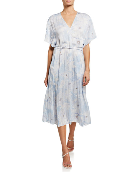 Vince Painted Magnolia V-Neck Midi Dress