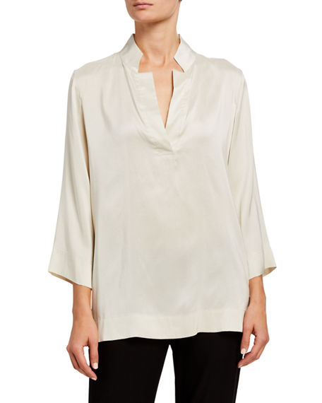 Eileen Fisher Silk Doupioni Notched-Collar Bracelet Sleeve Blouse
