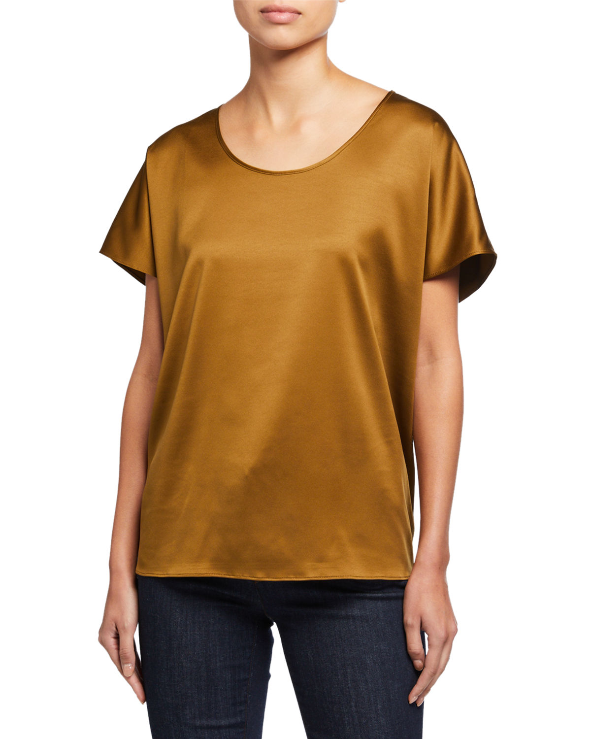 Eileen Fisher Shorts SCOOP-NECK SHORT-SLEEVE SATIN BOX TOP