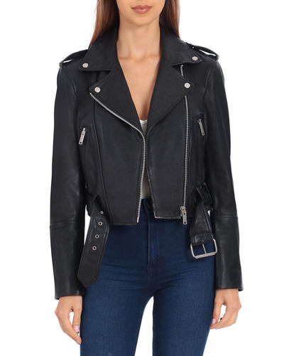 Soft Cropped Leather Biker Jacket