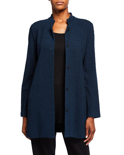 Plus Size Jacquard Knit Button-Front Stand-Collar Jacket