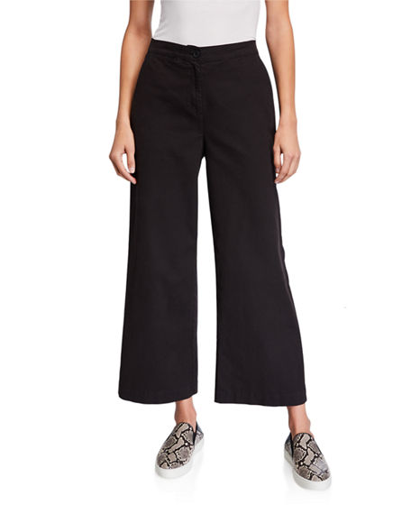 Eileen Fisher Stretch Cotton Canvas Wide-Leg Ankle Pants