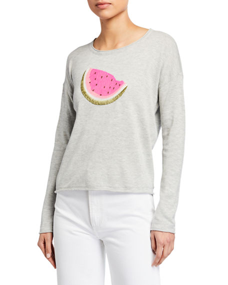 Lisa Todd Plus Size Whatamelon Embroidered Cotton-Blend Sweater