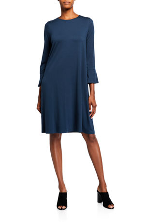 Eileen Fisher Petite Bracelet Bell Sleeve Jersey Shift Dress