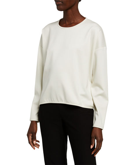 Eileen Fisher Petite Travel Ponte Long-Sleeve Crewneck Top
