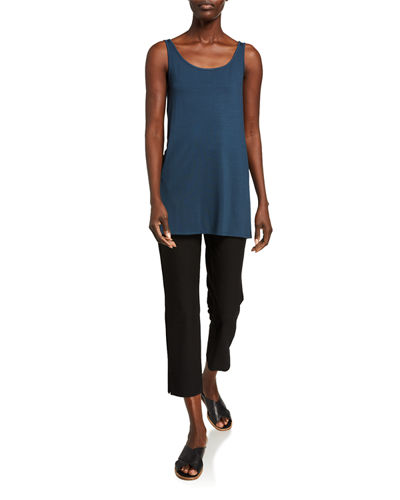 Eileen Fisher Washable Stretch-Crepe Side-Slit Ankle Pants