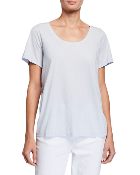 Eileen Fisher U-Neck Short-Sleeve Organic Cotton Jersey Tee
