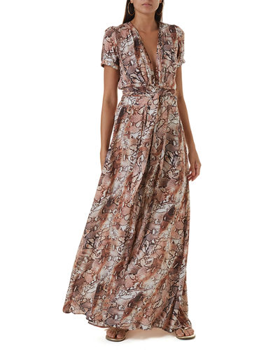 Lou Printed Belted Short-Sleeve Maxi Dress