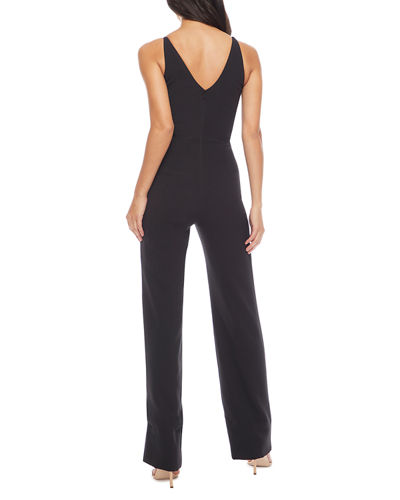 Dress The Population Sam V-Neck Sleeveless Shirred-Bodice Jumpsuit