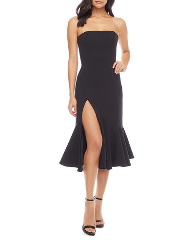 Dress The Population Madison Strapless Flounce-Hem Midi Dress